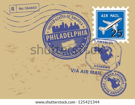 Grunge rubber post stamps set with name of Pennsylvania, Philadelphia, vector illustration
