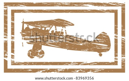 Grunge rubber stamp effect of a vintage airplane.