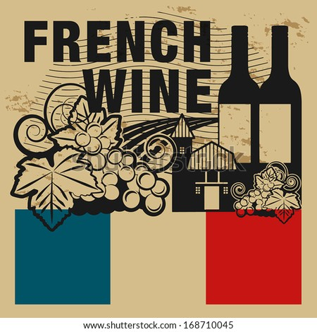 Grunge rubber stamp or label with words French Wine, vector illustration