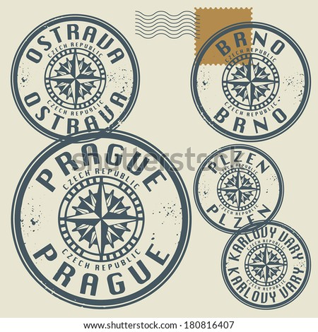 Grunge rubber stamp set with names of Czech Republic cities, vector illustration #180816407