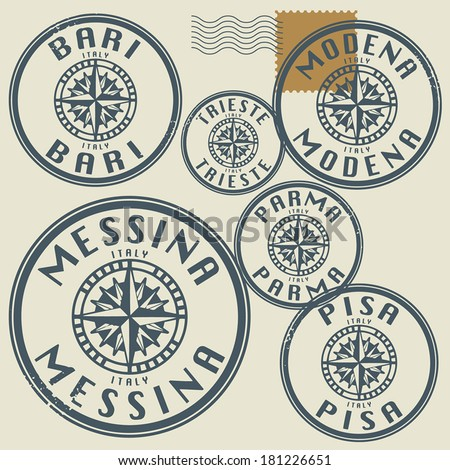 Grunge rubber stamp set with names of Italy cities, vector illustration #181226651