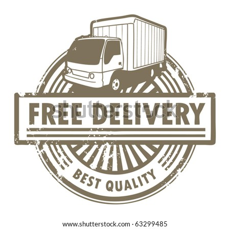 Grunge rubber stamp with a delivery car and the text Free Delivery inside, vector illustration