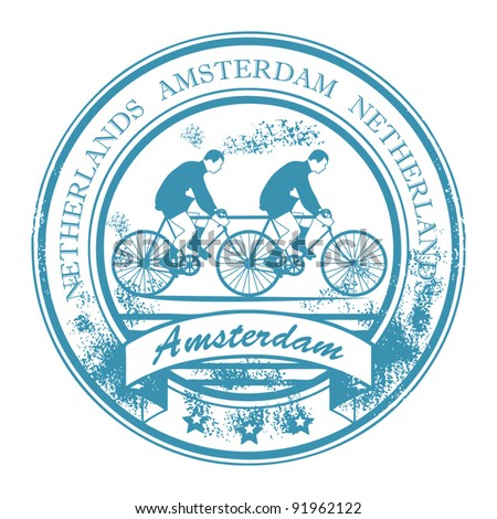 Grunge rubber stamp with bicycle and the words Amsterdam, Netherlands inside, vector illustration