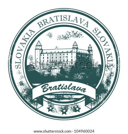 Grunge rubber stamp with Bratislava Castle building and the words Bratislava, Slovakia inside, vector illustration