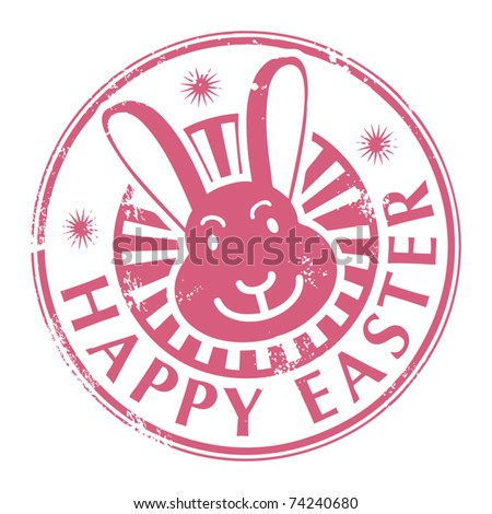 Grunge rubber stamp with bunny and the text Happy Easter written inside, vector illustration