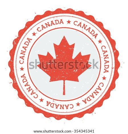 Grunge rubber stamp with Canada flag. Vintage travel stamp with circular text, stars and country flag inside it, vector illustration