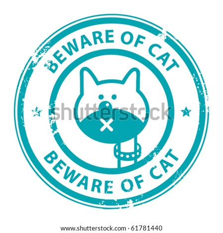 Grunge rubber stamp with cat and the word Beware of Cat  written inside the stamp, vector illustration