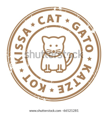 Grunge rubber stamp with cat inside the stamp, vector illustration