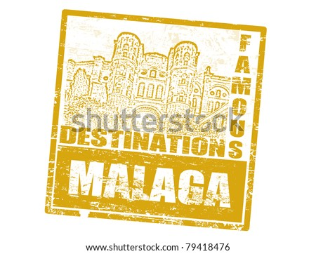 Grunge rubber stamp with Cathedral Malaga and the word Malaga  inside, vector illustration