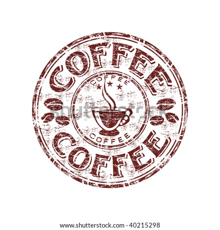 Grunge rubber stamp with coffee beans and coffee cup