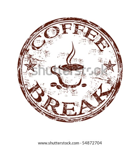Grunge rubber stamp with coffee cup symbol and the text coffee break written inside the stamp
