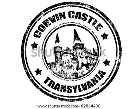 grunge rubber stamp with corvin castle inside,vector illustration