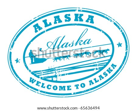 Grunge rubber stamp with Dog Sled and name of Alaska, vector illustration