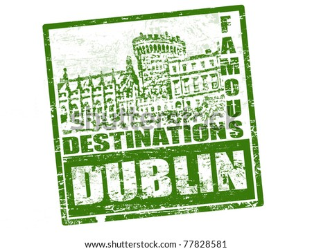grunge rubber stamp with dublin