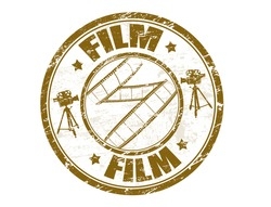 Grunge rubber stamp with film strip shape and the word film written inside the stamp