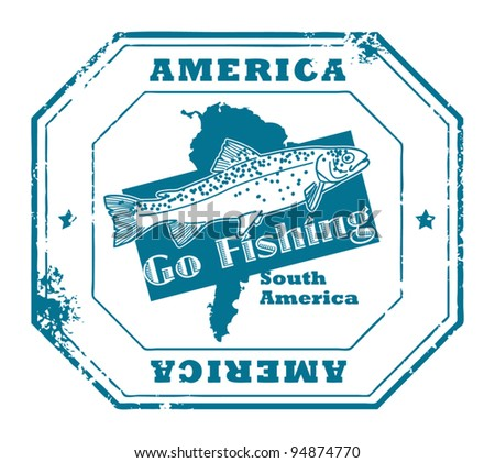 Grunge rubber stamp with fish shape and the text America, Go Fishing written inside, vector illustration