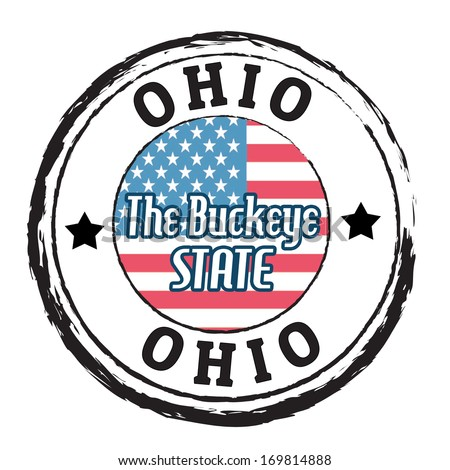 Grunge rubber stamp with flag and the text Ohio, The Buckeye State, vector illustration