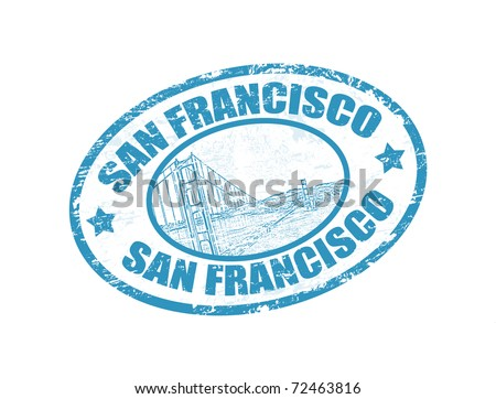 Grunge rubber stamp with Golden Gate Bridge and the word San Francisco written inside