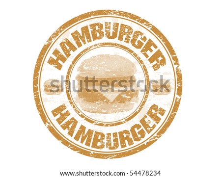 Grunge rubber stamp with hamburger shape and the text hamburger written inside the stamp