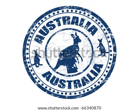 Grunge rubber stamp with kangaroo shape and the text Australia written inside the stamp, vector illustration