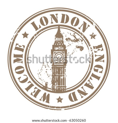 Grunge rubber stamp with London, England, Welcome inside, vector illustration