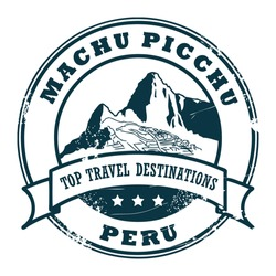 Grunge rubber stamp with Machu Picchu, vector illustration