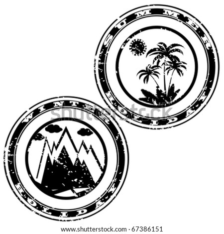 Grunge rubber stamp with mountain and palms for holiday