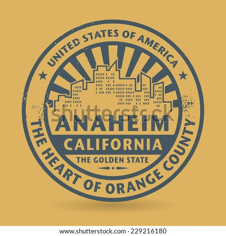 Grunge rubber stamp with name of Anaheim, California, vector illustration