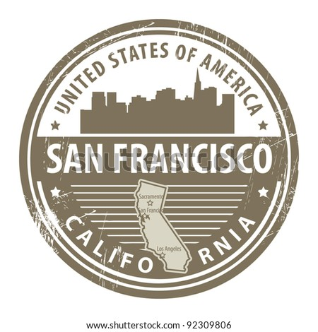 Grunge rubber stamp with name of California, San Francisco, vector illustration