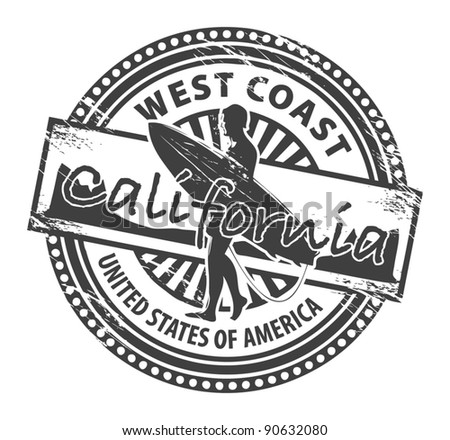 Grunge rubber stamp with name of California, vector illustration - stock vector