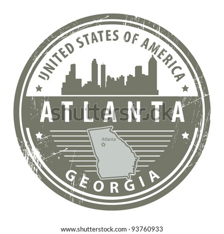 Grunge rubber stamp with name of Georgia, Atlanta, vector illustration