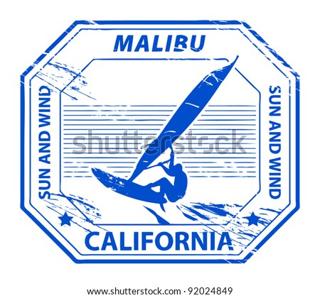 Grunge rubber stamp with name of Malibu, California, vector illustration