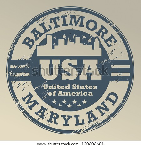 Grunge rubber stamp with name of Maryland, Baltimore, vector illustration