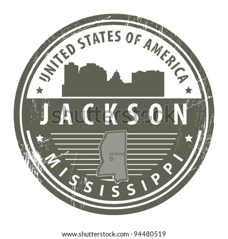 Grunge rubber stamp with name of Mississippi, Jackson, vector illustration