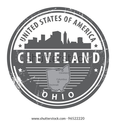 Grunge rubber stamp with name of Ohio, Cleveland, vector illustration