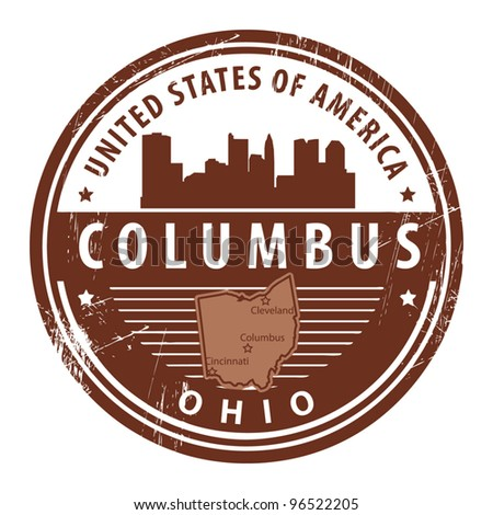 Grunge rubber stamp with name of Ohio, Columbus, vector illustration