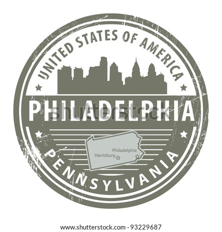 Grunge rubber stamp with name of Pennsylvania, Philadelphia, vector illustration