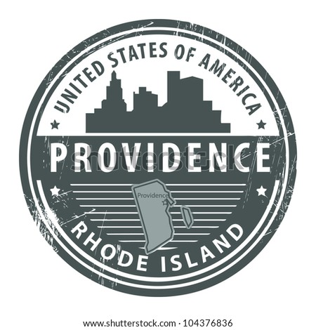 Grunge rubber stamp with name of Rhode Island, Providence, vector illustration