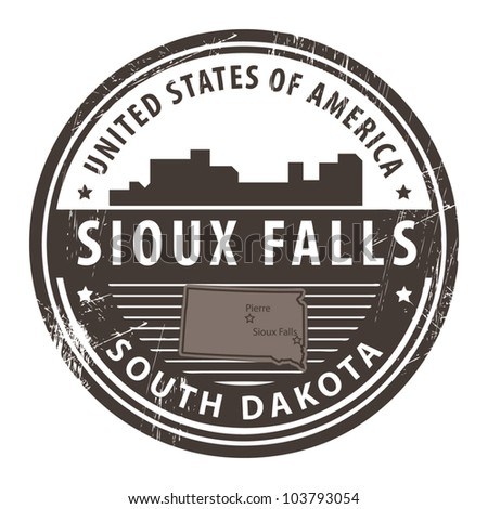 Grunge rubber stamp with name of South Dakota, Sioux Falls, vector illustration