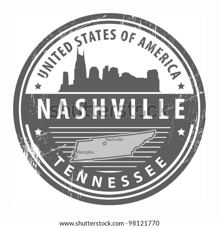 Grunge rubber stamp with name of Tennessee, Nashville, vector illustration