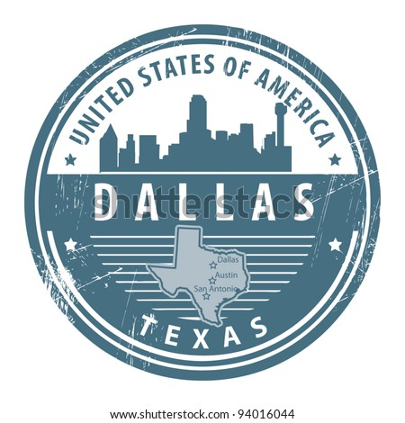 Grunge rubber stamp with name of Texas, Dallas, vector illustration