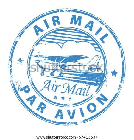 Grunge rubber stamp with plane and the text air mail, par avion written inside the stamp, vector illustration