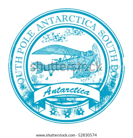 Grunge rubber stamp with retro Airplane and the word Antarctica, South Pole inside, vector illustration