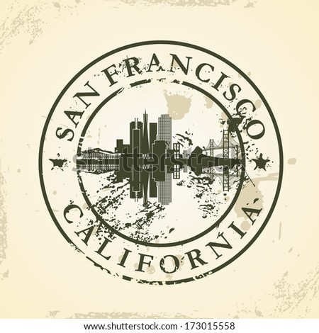 Grunge rubber stamp with San Francisco, California - vector illustration ストックフォト ©