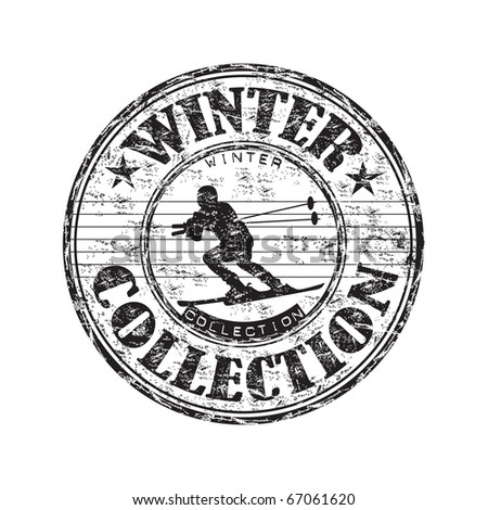Grunge rubber stamp with skier silhouette and the text winter collection written inside the stamp