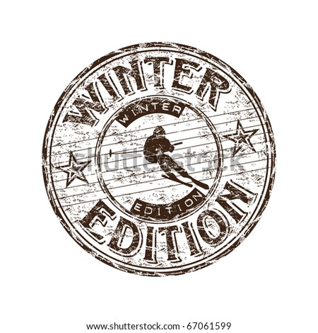 Grunge rubber stamp with skier silhouette and the text winter edition written inside the stamp