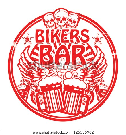 Grunge rubber stamp with skull and the words Bikers Bar inside, vector illustration