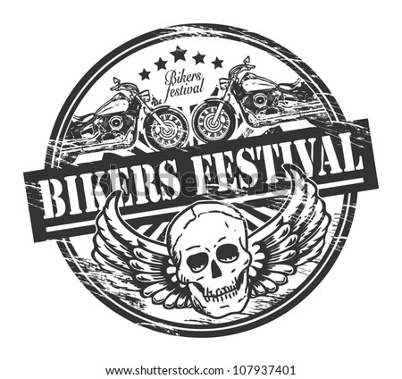 Grunge rubber stamp with skull and the words Bikers Festival inside, vector illustration