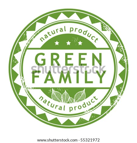 Grunge rubber stamp with small stars and the word Green Family inside, vector illustration