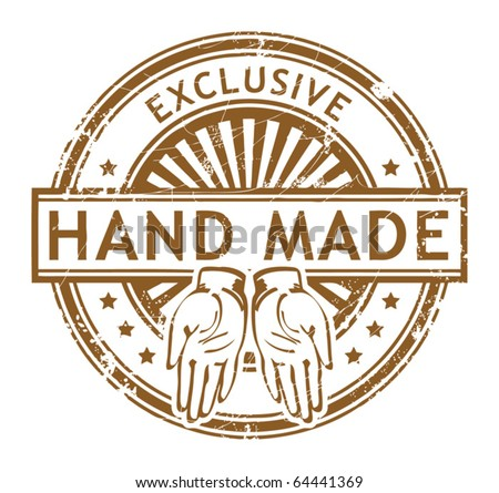 Grunge rubber stamp with small stars and the word Hand Made, Exclusive inside, vector illustration - stock vector